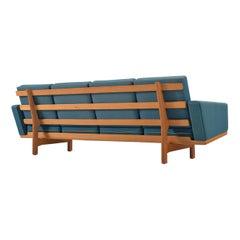 Hans Wegner Sofa in Oak and Petrol Upholstery for GETAMA