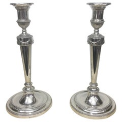 Hawksworth, Eyre & Co. Pair of Empire Silver Plated English Candlesticks