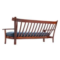 Brazilian Rosewood Sofa with Navy Velvet Upholstery