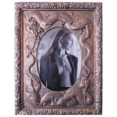 Japanese Silver Plated Picture Frame Embellished with Dragons, circa 1930
