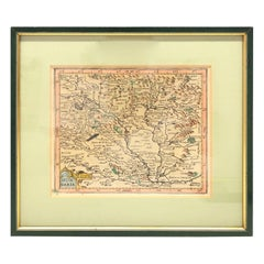 1970s Framed Antique Map of Hungaria Hungary 1629 Original