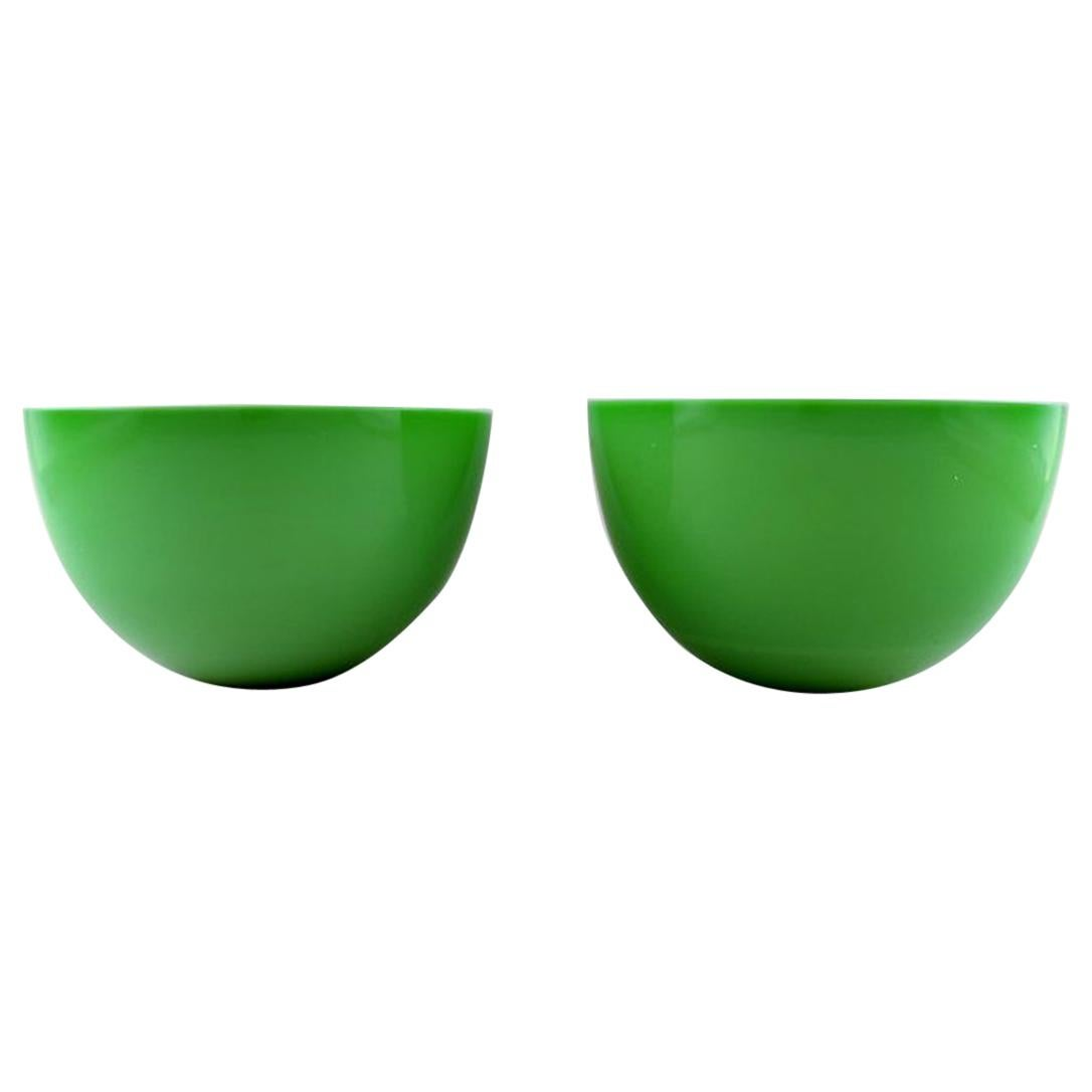"""Sven Palmqvist for Orrefors, a Pair of Green """"Colora"""" Bowls in Art Glass"""