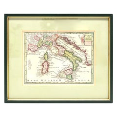 1970s Framed Antique Map of Italy 1746 Original