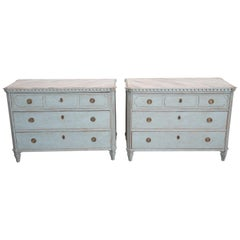 Pair of Antique Swedish Gustavian Style Blue Painted Chests, Late 19th Century