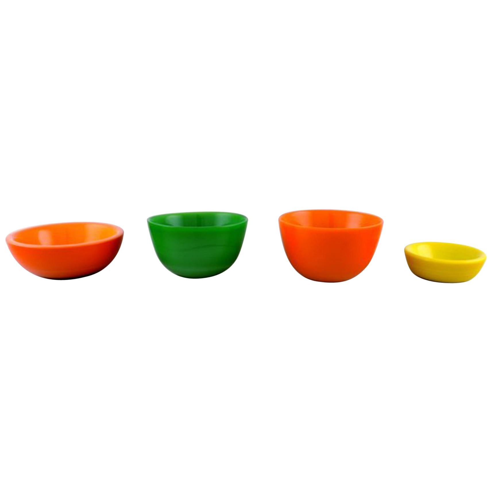 "Sven Palmqvist for Orrefors, Set of 4 ""Colora"" Bowls in Art Glass"