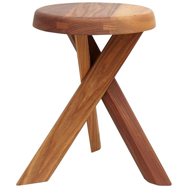 Pierre Chapo Stool S31A Solid Elmwood For Sale