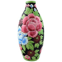 Boch Freres Keramis, Belgium, Large Hand Painted Art Deco Ceramic Vase