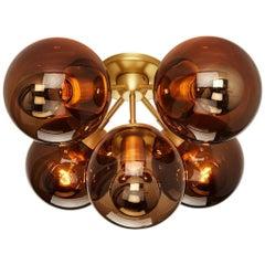 Modo 5-Globe Ceiling Mount in Brass & Smoke by Jason Miller for Roll & Hill