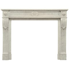 Stylish French Louis XVI Fireplace in Carrara White Marble