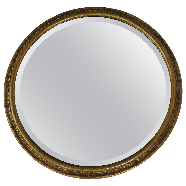 Victorian Wall Mirror 15 inch Diam. Giltwood Frame Bevel Glass, English Ca 1880