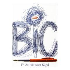 1960s Bic Pens Poster by Ruedi Külling Pop Art Illustration Advertising