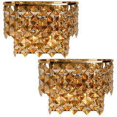 Pair of Palwa Wall Sconces, Gilded Brass and Crystal Glass, Germany, 1960s