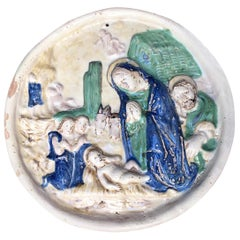 18th Century Italian Maiolica Madonna with Child Nativity Relief Wall Plaque