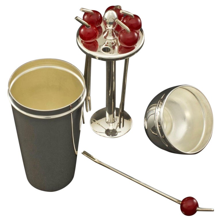 Cocktail Cherry Sticks in a Silver Plated Miniature Cocktail Shaker, circa 1935 For Sale