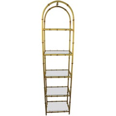 Faux Bamboo Etagere in Iron and Glass
