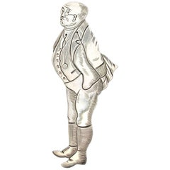 Victorian Novelty Silver Figural Bookmark Charles Dickens 'Samuel Pickwick' 1892