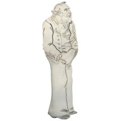 Victorian Novelty Silver Figural Bookmark Charles Dickens 'Captain Cuttle' 1889