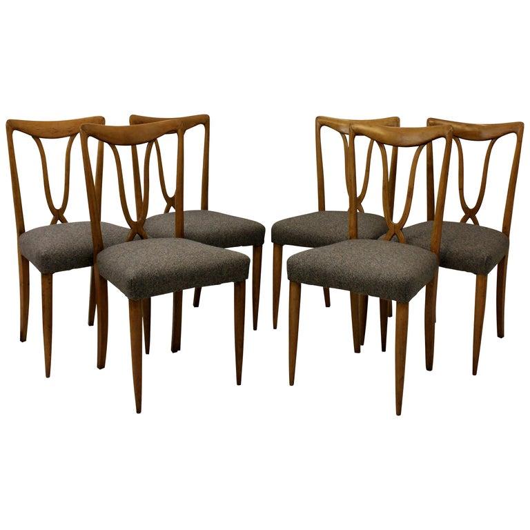 Set of Six Stylish Italian Dining Chairs