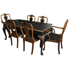 19th Century French Black Painted Dining Room Set with Six Seats, 1890s
