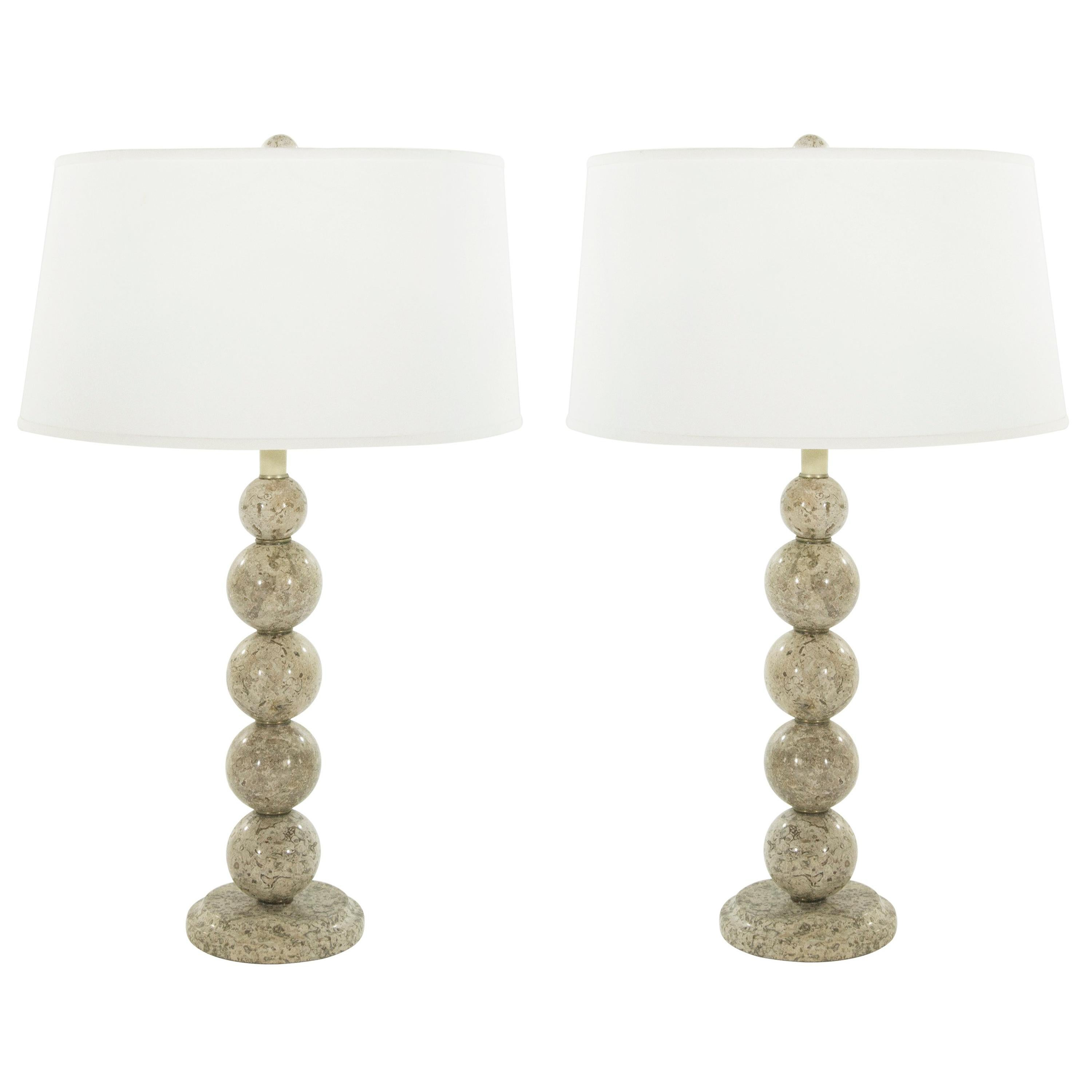 Stacked Travertine Spheres Table Lamps, 1970s