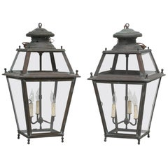 Pair of Old Copper French Lanterns with Wavy Glass Panes, Rewired