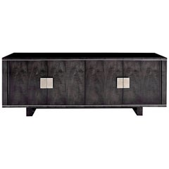 Pembroke Side Cabinet in Sycamore Black with Polished Nickel & Shagreen Handles