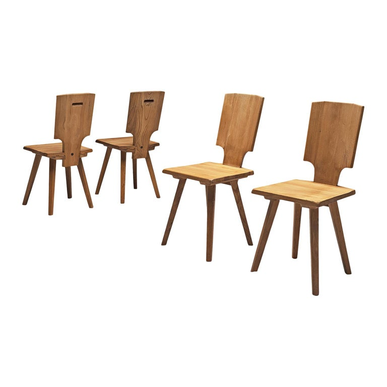 Pierre Chapo S28 Dining Chairs in Solid Elm, 1975 For Sale