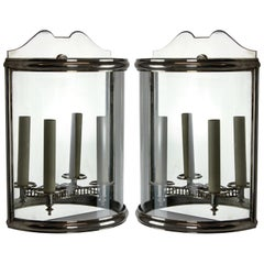 Pair of Silver Demilune Wall Lanterns