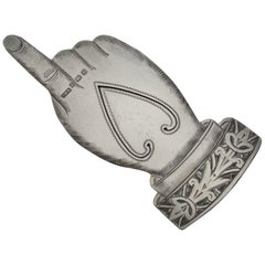 """Edwardian Novelty Silver """"Pointing Finger"""" Bookmark by Crisford & Noris, 1905"""