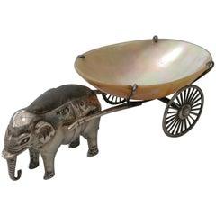 Edwardian Novelty Silver Elephant Pulling a Cart Pin Cushion Adie & Lovekin 1910
