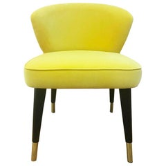 Midcentury Style Yellow Velvet with Brass Sabots Dining Chair Berlin