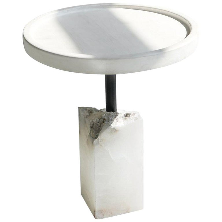 Modern Bleached Maple and Alabaster Side Table by Ordinal Indicator  For Sale