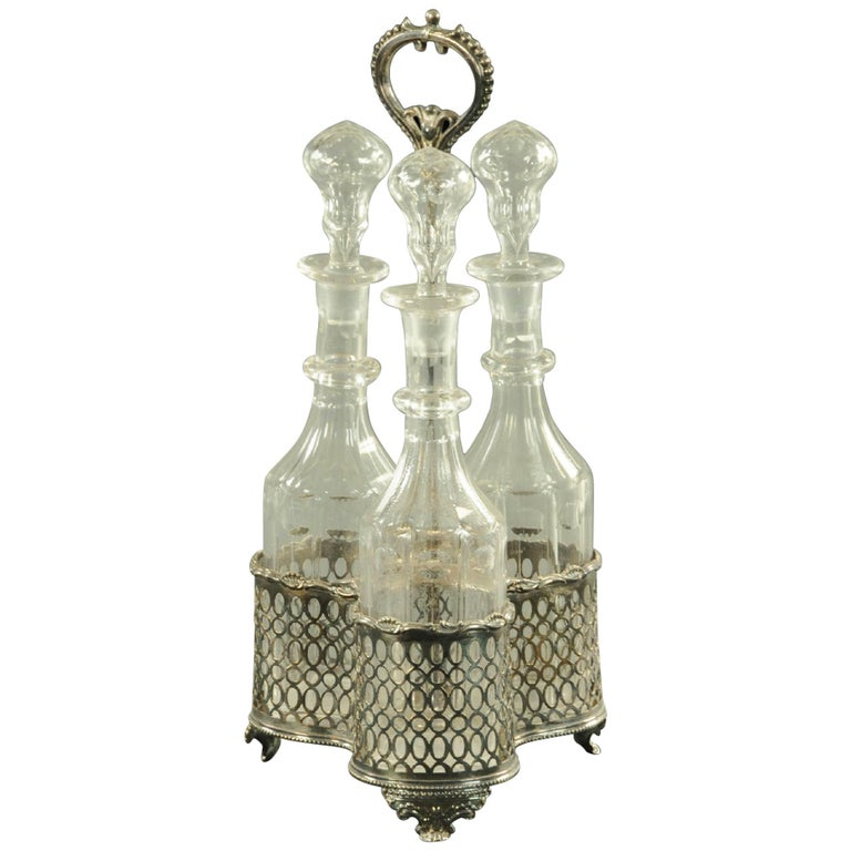 Silver Plated Three Bottle Decanter Stand For Sale