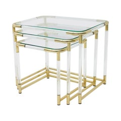 Nesting Tables in Brass, Glass and Lucite, circa 1970s