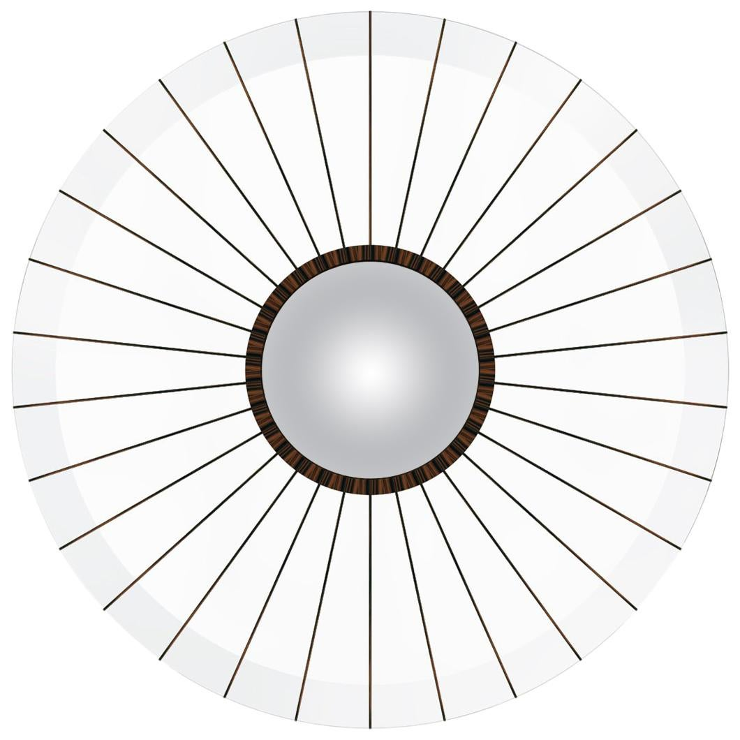 Modern Clear Acrylic and Macassar Ebony Bulls Eye Convex Mirror in Stock
