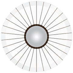 Modern Clear Acrylic and Macassar Ebony Bulls Eye Convex Mirror in Stock