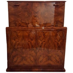 Bookmatched Burl Elm Cocktail Cabinet or Dry Bar Sycamore Inside Art Deco