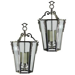 Pair of French Nickel Plated Glazed Tapering Lanterns
