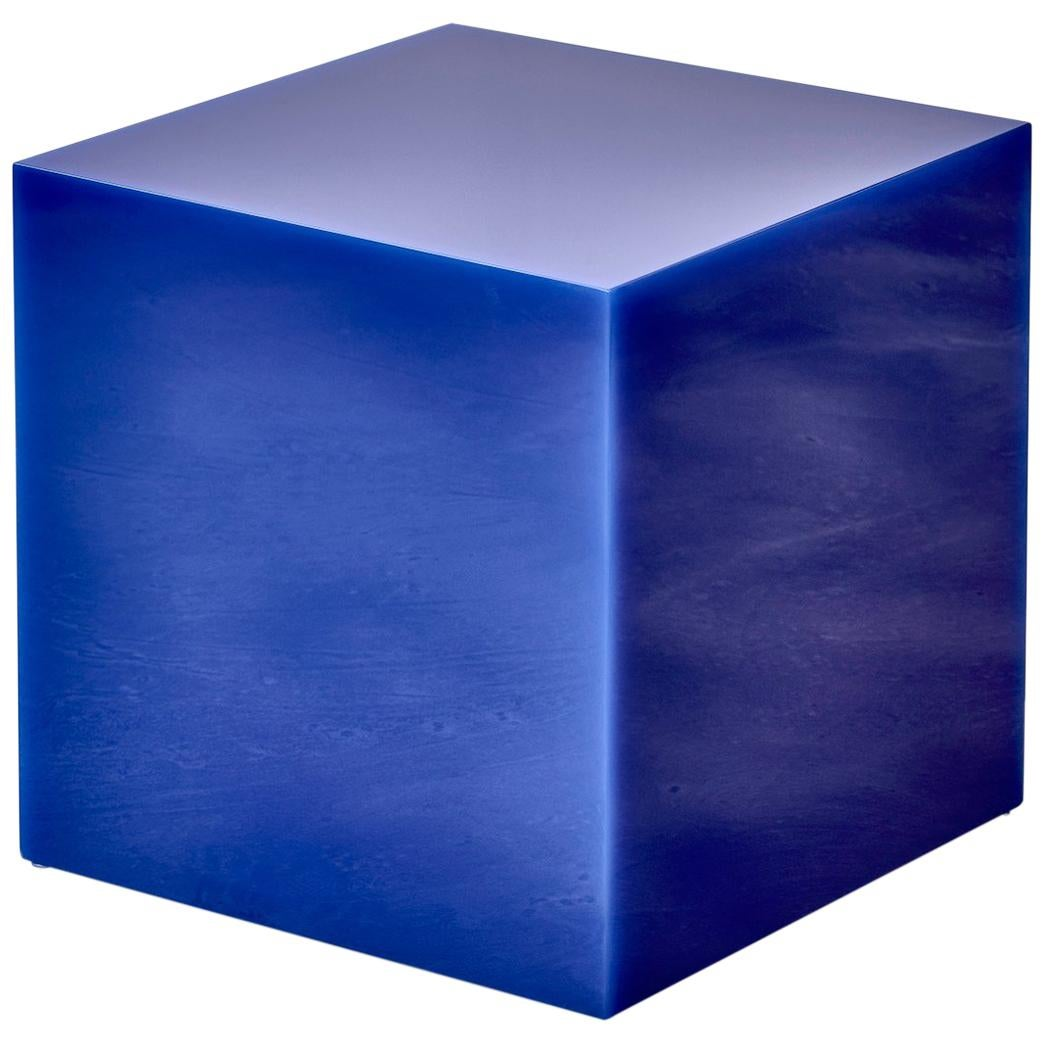 Sabine Marcelis Electric Blue Candy Cube Contemporary Side Table High Cast Resin
