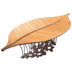 Table Fenice, Leaf Shape, Oak and Walnut Canaletto, Italy