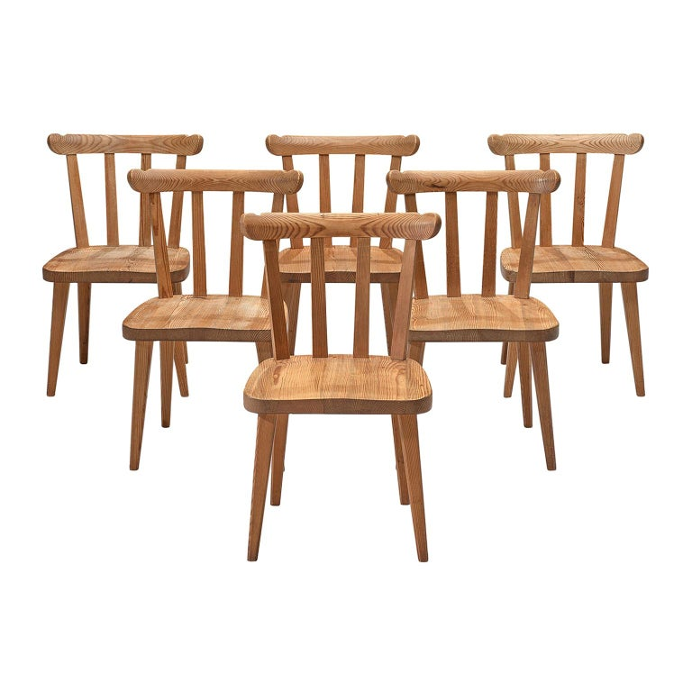Set of Six Dining Chairs in Pine for Nordiska Kompaniet Sweden For Sale