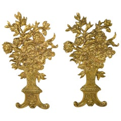 Pair of French Bronze Gold Dore Mounts with a Floral Basket Design