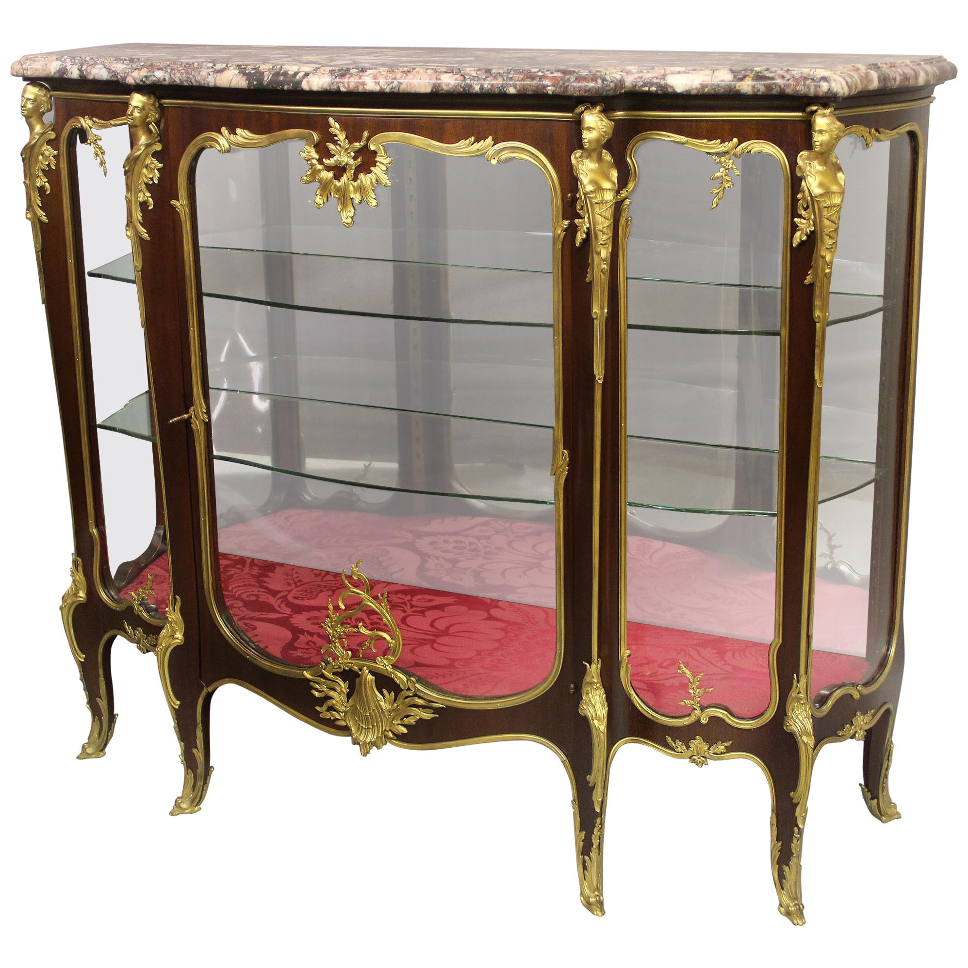 Exceptional Late 19th Century Gilt Bronze Mounted Vitrine by François Linke