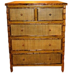 Bamboo and Cane Dresser or Drawers