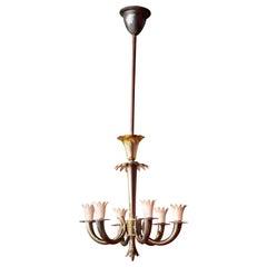 Gio Ponti, Emilio Lancia Art Deco Italian Design Brass Six-Lights Chandelier