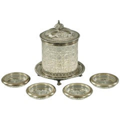 Victorian Cut Glass and Silver Plate Mounted Biscuit Barrel