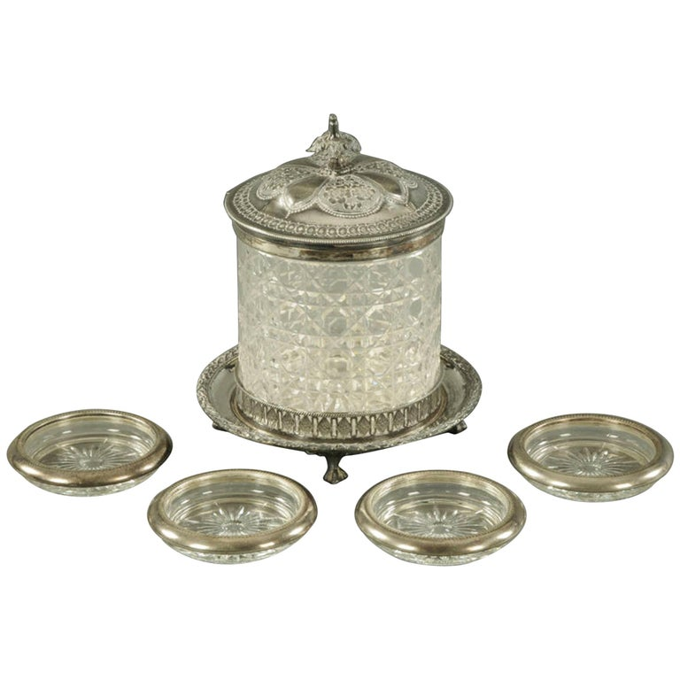 Victorian Cut Glass and Silver Plate Mounted Biscuit Barrel For Sale