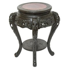 Art Nouveau Style Japanese-Export Carved Wood Side Table or Plant Stand