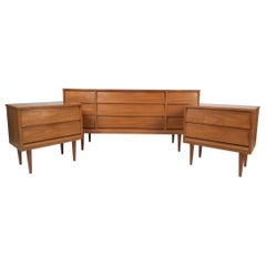 Mid-Century Modern Dresser and Nightstands by Dixie Furniture