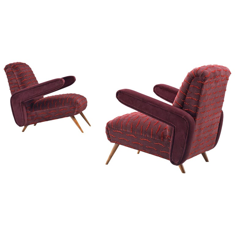 Rare Pair of Brazilian Armchairs Reupholstered in Luxurious Burgundy Velvets For Sale